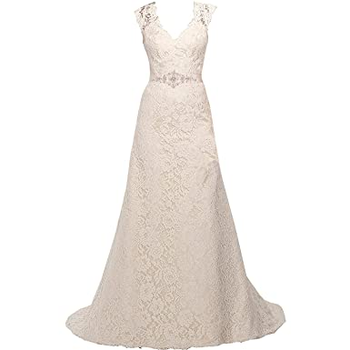 d8db99c0cbc3 Mylilac V Neckline A Line Cap Sleeve Lace Over Satin Wedding Dress at Amazon  Women's Clothing store: