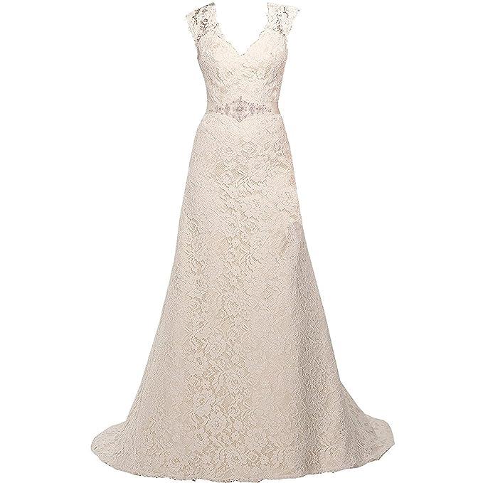 Mylilac V Neckline A Line Cap Sleeve Lace Over Satin Wedding Dress