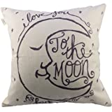 "Amazon Price History for:CoolDream I Love You to the Moon and Back Cotton Throw Pillow Case Vintage Cushion Cover 18"" x 18"""