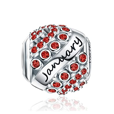 504fa532a Forever Queen Birthstone Charms fit Charms Bracelet- 925 Sterling Silver  Bead Charms, Happy Birthday 12 Colors Jan-Dec Openwork Charms for Bracelet  and ...