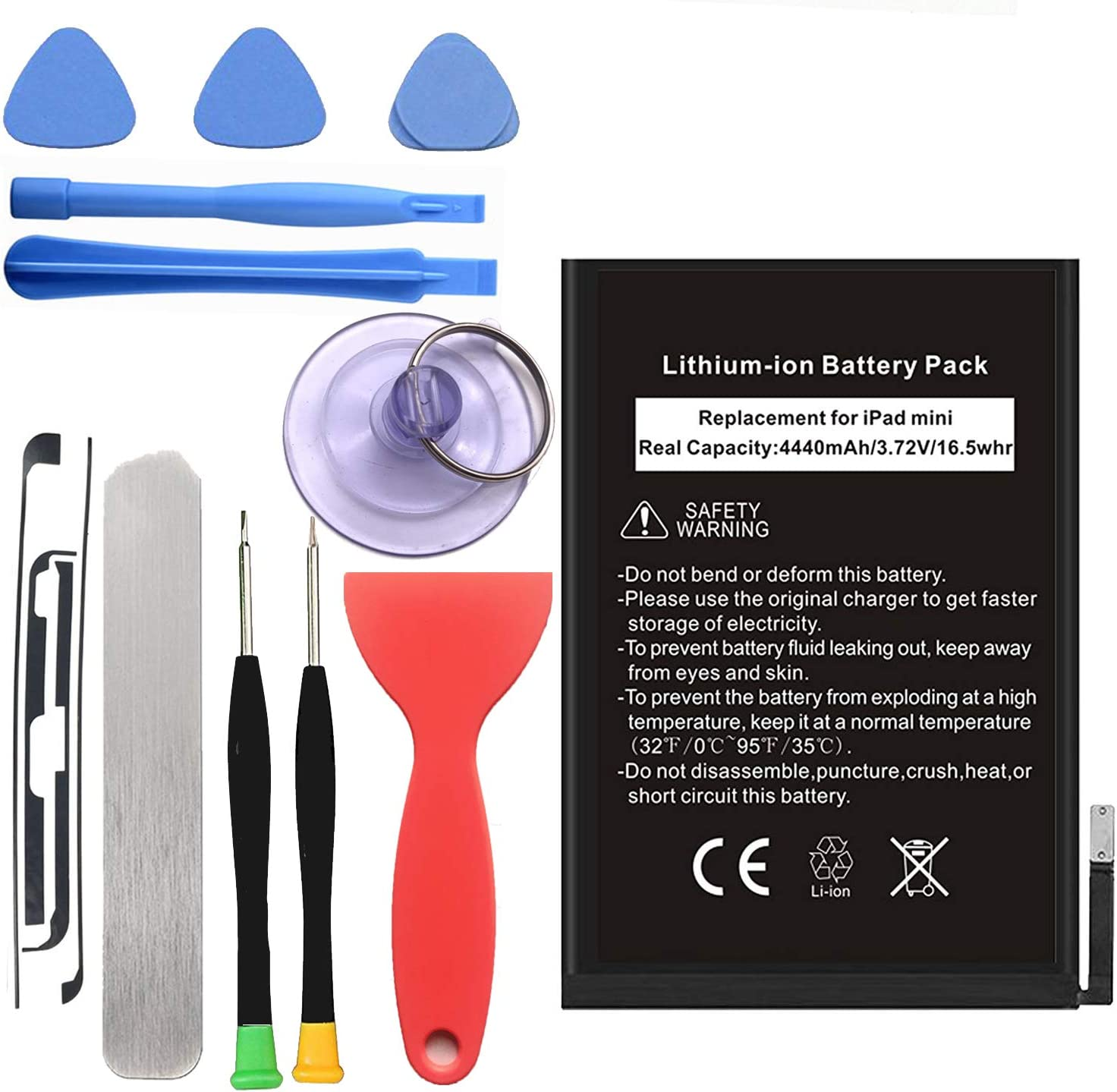 Ogodeal Replacement Internal Battery Kit for iPad Mini 1 (1st Generation iPad Mini) Fixes for Apple A1432, A1445, A1454, Apple iPad Mini, iPad Mini WiFi with Full Set Installation Tools and Adhesive
