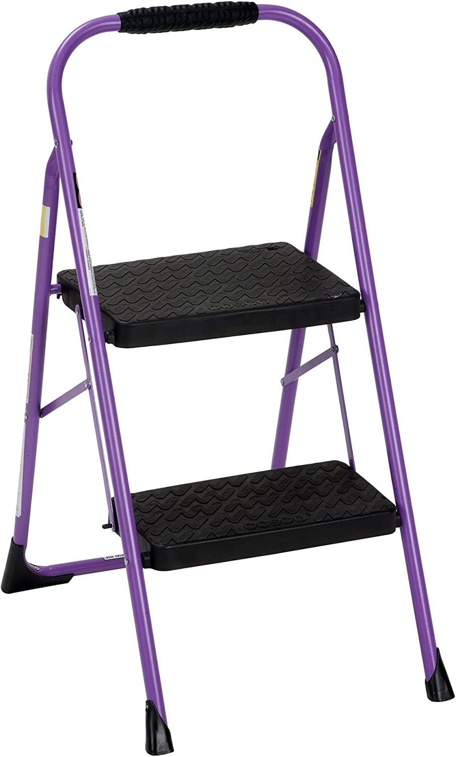Cosco Two Step Big Step Folding Step Stool with Rubber Hand Grip, Purple