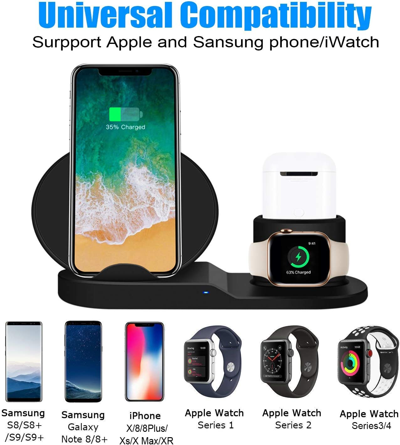 BESTBEING Wireless Charger, 3 in 1 Wireless Charging Dock for Apple Watch and Airpods, Charging Station for Multiple Devices, Qi Fast Wireless ...