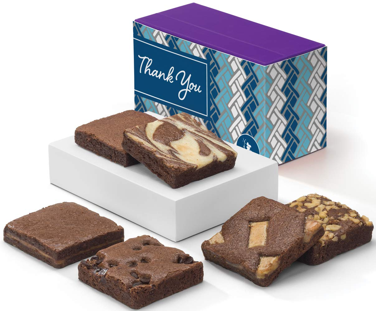 Fairytale Brownies Thank You Half-Dozen Gourmet Chocolate Food Gift Basket - 3 Inch Square Full-Size Brownies - 6 Pieces - Item HY160
