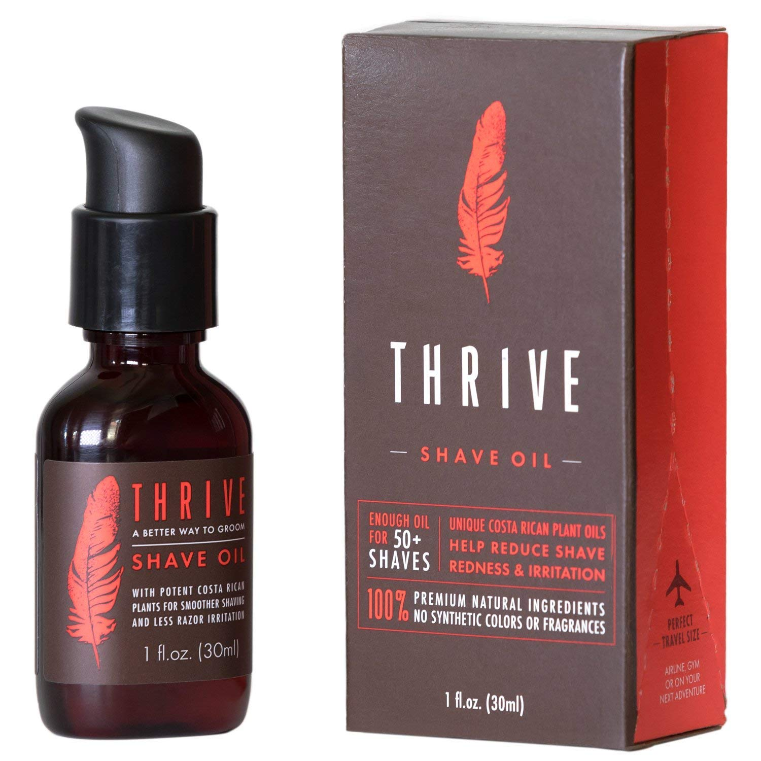 Thrive Natural Shave Oil for Men - Replaces Pre-Shave Oils, Shaving Creams, Gels, and Foams; Made with Organic and Unique Premium Natural Ingredients for Healthier Skin - 30ml /1 oz Thrive Natural Care 852200000000