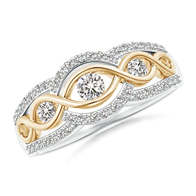 Angara 3 Stone Diamond Criss Cross Infinity Ring in Two Tone p9sVPLHrE