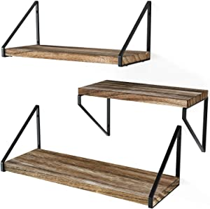 Love-KANKEI Floating Shelves Rustic Shelves Wall Mounted Set of 3 Wall Storage Shelves for Living Room, Bedroom, Kitchen Carbonized Black