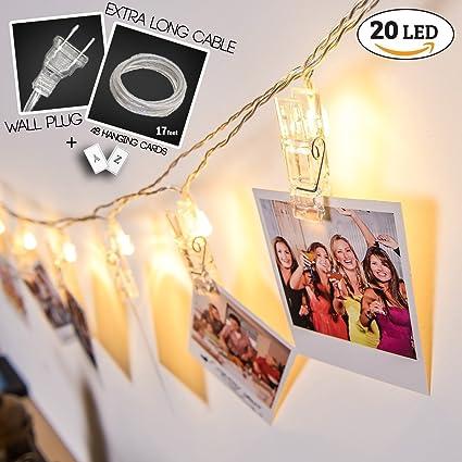 Amazon.com: WALL PLUG EXTRA LONG/17 FEET LED Photo Clip String ...