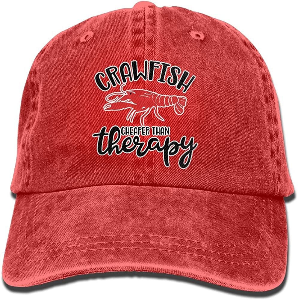 Crawfish Cheaper Than Therapy Vintage Washed Cap Adjustable Baseball Cap Dads Stetson Hat