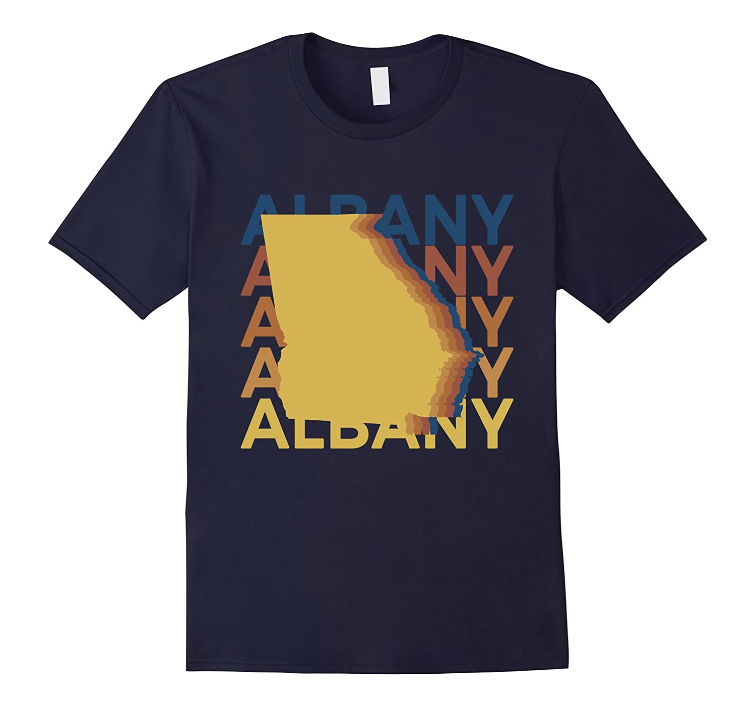 Albany Georgia T Shirt Retro Map Repeat-TH