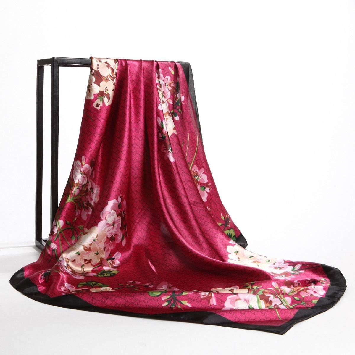 "Women/'s Fashion Purple Hijab Scarf Floral Print Square Polyester Scarves 35/""*35/"""
