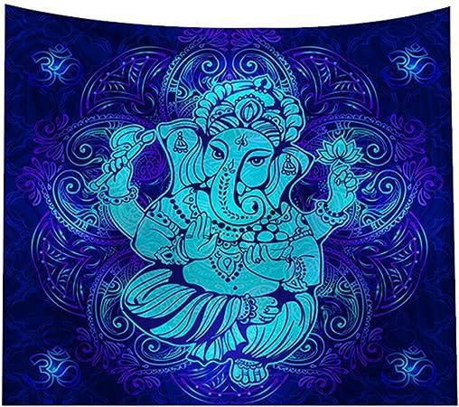 Pinji Tapisserie Murale Mandala Tenture Murale Style El/éphant Indien Psych/éd/élique Couvre-lit Tapisserie Hippie Drap de Plage D/écoration de Chambre 150*130cm
