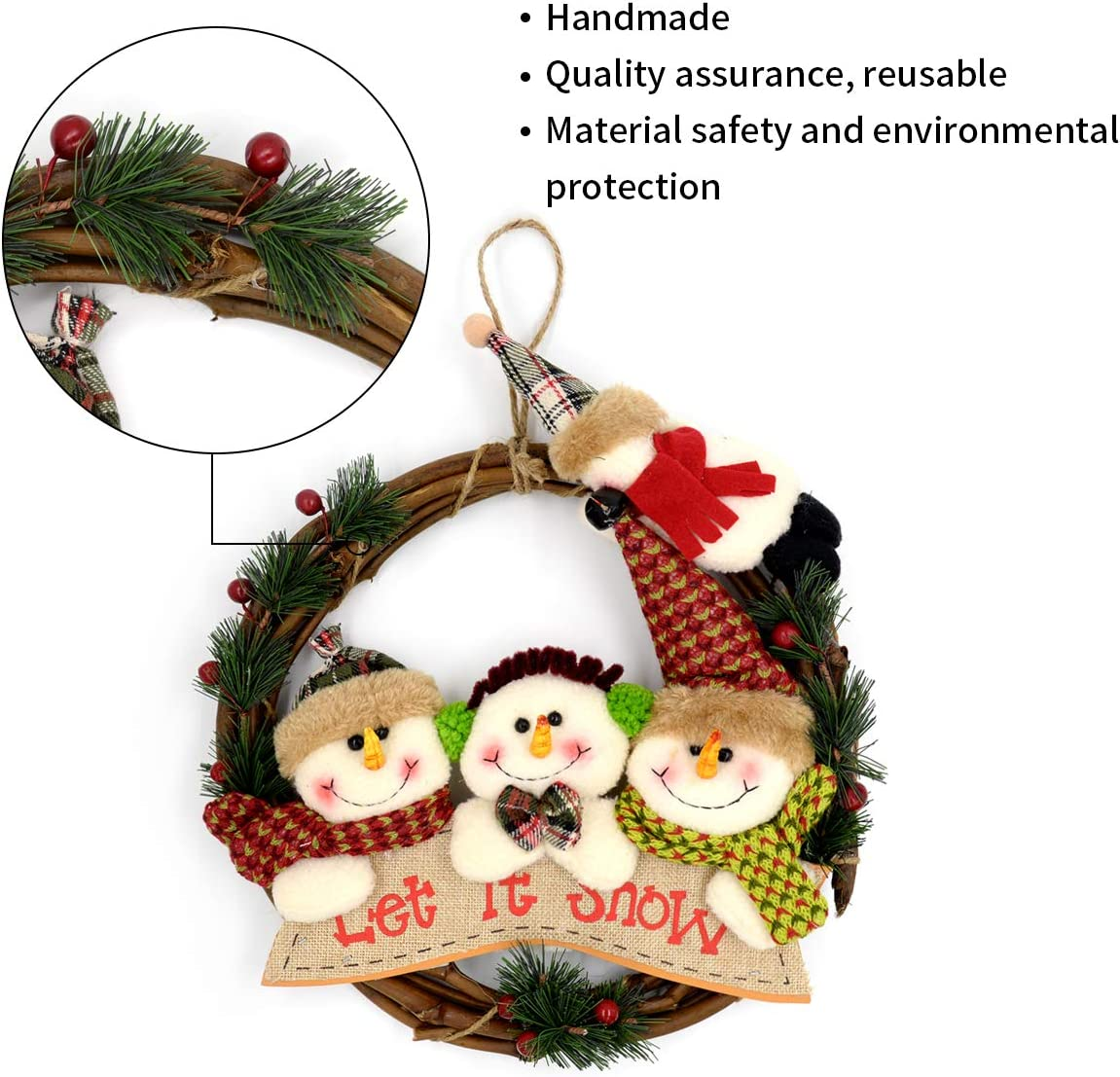 Christmas Wreath Christmas Decoration Handmade Cute Snowman Berry Hanging Christmas Wreath Front Door Decoration Kitchen Dining