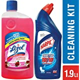 Lizol Disinfectant Floor Cleaner - 975 ml (Floral) with Harpic Powerplus Original - 1 L