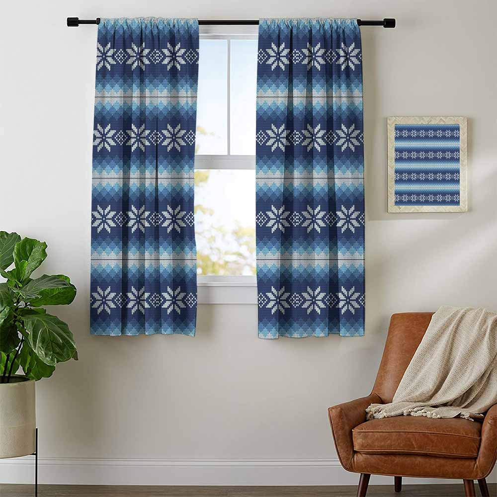 Mozenou Winter, Curtains with Valance, Traditional Scandinavian Needlework Inspired Pattern Jacquard Flakes Knitting Theme, Curtains Kitchen, W96 x L72 Inch