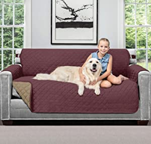 SOFA SHIELD Original Patent Pending Reversible Small Sofa Slipcover, 2 Inch Strap Hook, Seat Width Up to 62 Inch Washable Furniture Protector, Couch Slip Cover for Pets, Kids, Small Sofa, Burgundy Tan