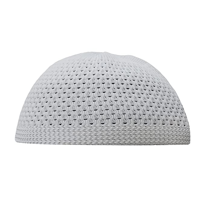 TheKufi White Open-Weave Nylon Stretchy Kufi Hat Skull Cap Beanie at ...