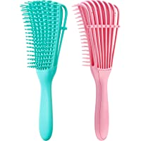 2 Pieces Detangling Brush for Hair Textured 3a to 4c All Kind of Thick Long Hair, Knots Detangler Easy to Clean (Pink…