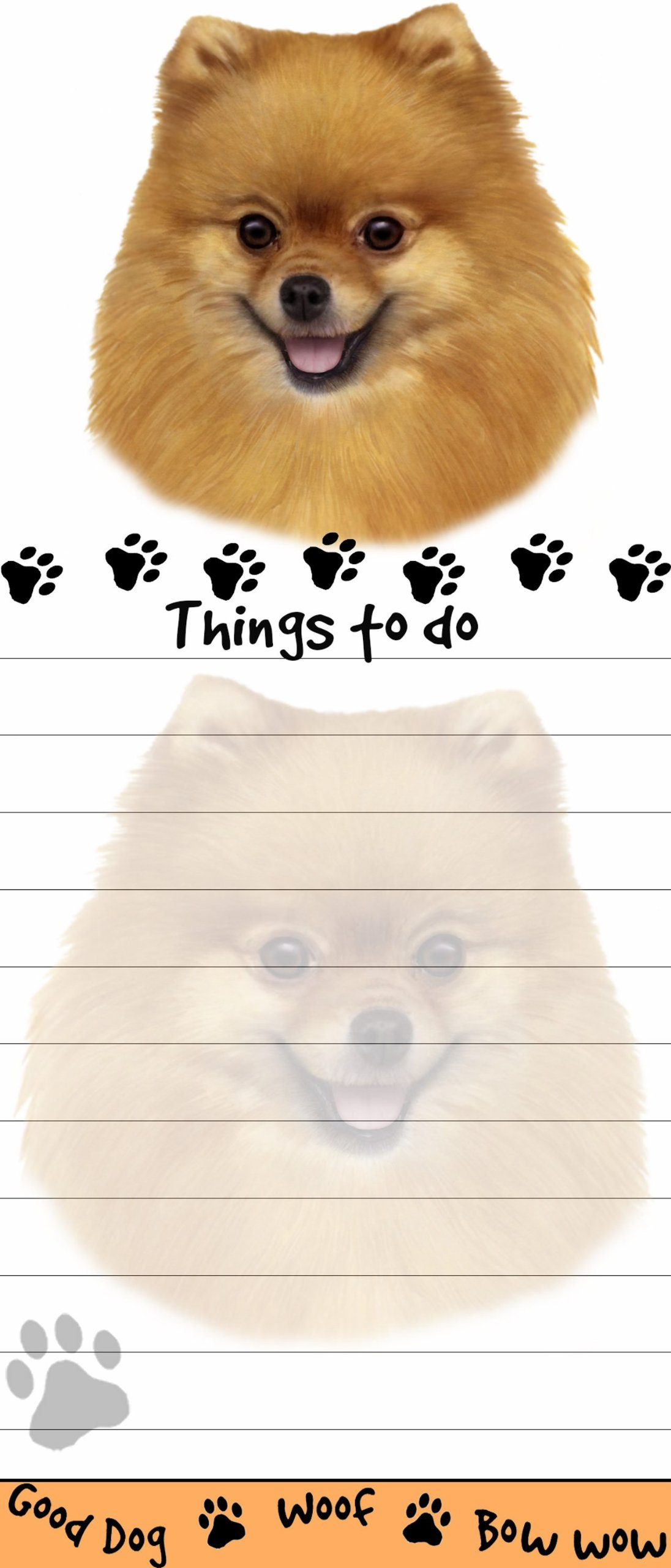 """Pomeranian Magnetic List Pads"" Uniquely Shaped Sticky Notepad Measures 8.5 by 3.5 Inches 1"