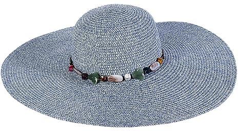985bd64598358 Da. WA verano sombrero de paja playa sol sombrero de moda para mujeres niñas  azul