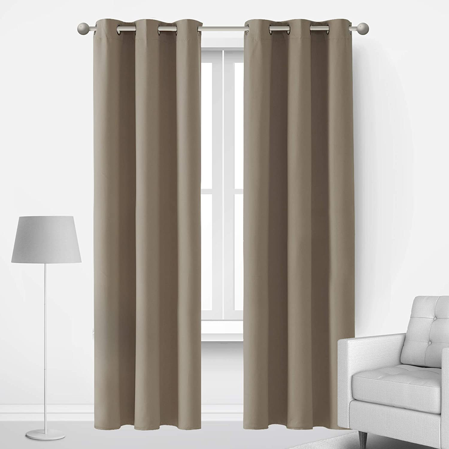 Deconovo Taupe Blackout Curtains for Bedroom Living Room Kitchen and Office Set of 2 Thermal Insulated Room Darkening Window Drape Sound Proof 84 Inches Length Curtains, 2 Panels, 42x84 in, Taupe