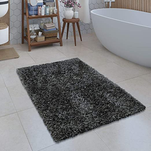 Größen u Farben Badezimmer Teppich Einfarbig Hochflor Rutschfest In Versch