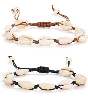 Verstellbares Armband im Hawaiianischen Stil 2 Schwarze Seile, 2 Wei/ße Seile CAILI 4 pcs Muschelarmb/änder Gewebtes Strandarmband Aus Baumwolle Kreatives Armband