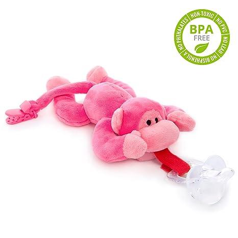 Chupete con mono rosa BabyHuggle - Chupeta con peluche para ...