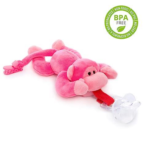 Chupete con mono rosa BabyHuggle - Chupeta con peluche para bebé ...