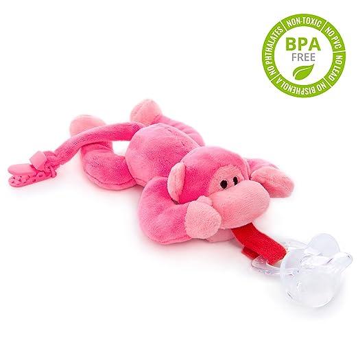Chupete con mono rosa BabyHuggle - Chupeta con peluche para bebé, Juguete de felpa suave con chupón separable de silicona, Chupador con correa, ...