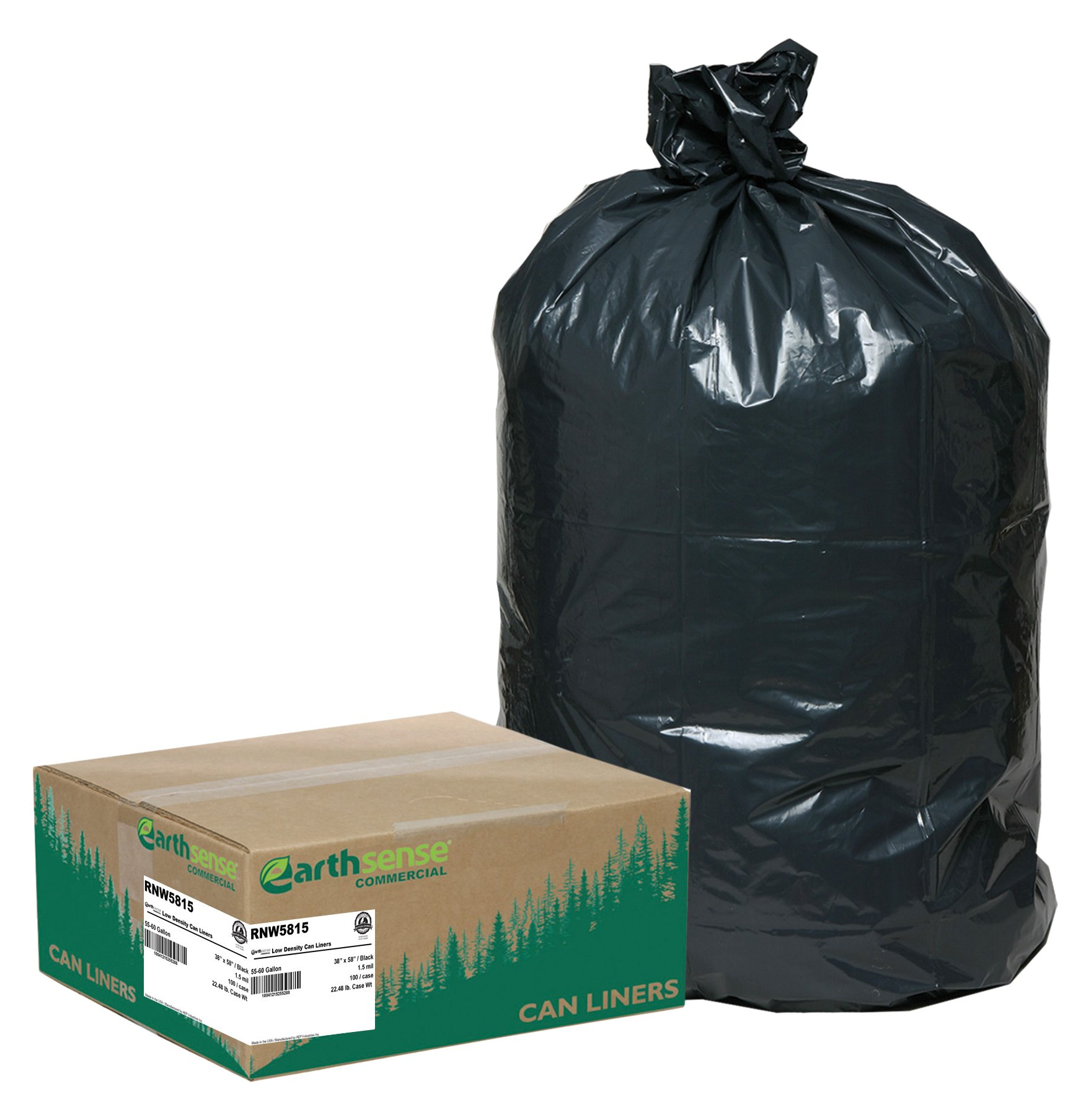 Earthsense Commercial RNW5815 Can Liner, 38 x 58, 55-60 gal, 1.5 mil, Polyethylene, Black (Pack of 100) by Earthsense Commercial