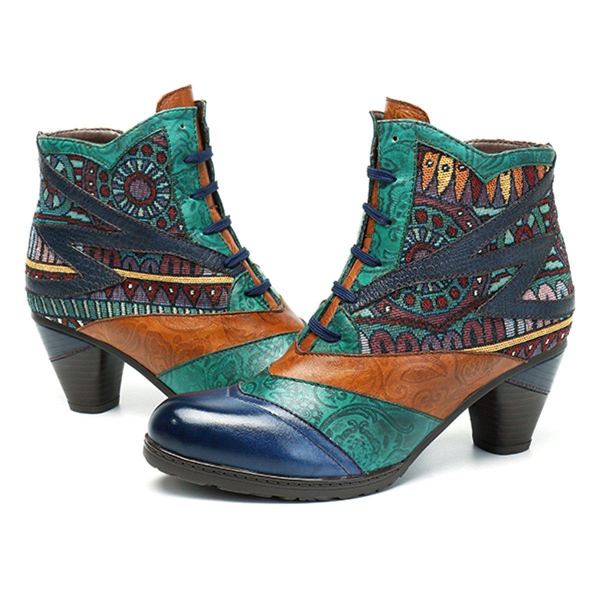 Socofy Botines De Cuero, Zapatos De Invierno De Cuero para Mujeres Botas Oxford Ocasionales Botines Cálidos con Botas De Bohemia Zapatos De Tacón De Cuero con Tacón Azul Oscuro