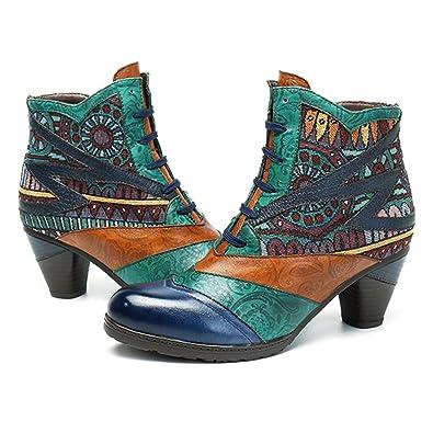1802764068432 Socofy Bottes Femme, Bottines en Cuir A Talon Haut Boots Chaussures de  Ville Mustang Hiver