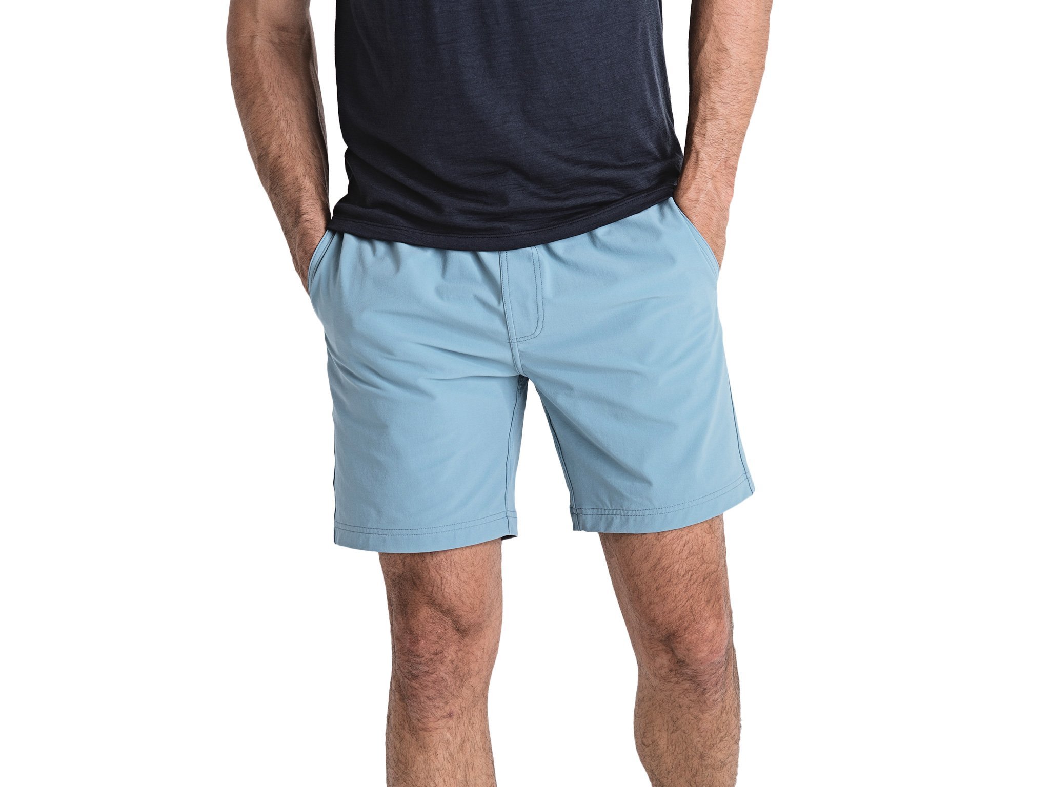 OLIVERS Apparel, Mens Water Repellent, 4-Way Stretch, All Over Short. Perfect for Running, Yoga, and Weightlifting - (Denim Blue, Small)