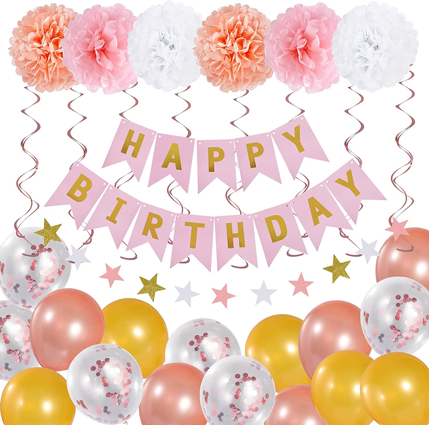 Garma Birthday Decorations, Birthday Party Supplies for Girl and Women Include Happy Birthday Banners Pink Rose Gold Balloons for 18th 19th 20th 21st 22nd 24th 25th 30th 40th 45th 50th 60th 70th Birthday Decor