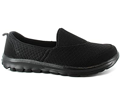 Ladies Memory Foam Slip On Canvas Pumps Mesh Flexi Comfort Plimsoll Casual Sports  Trainers Go Shoes
