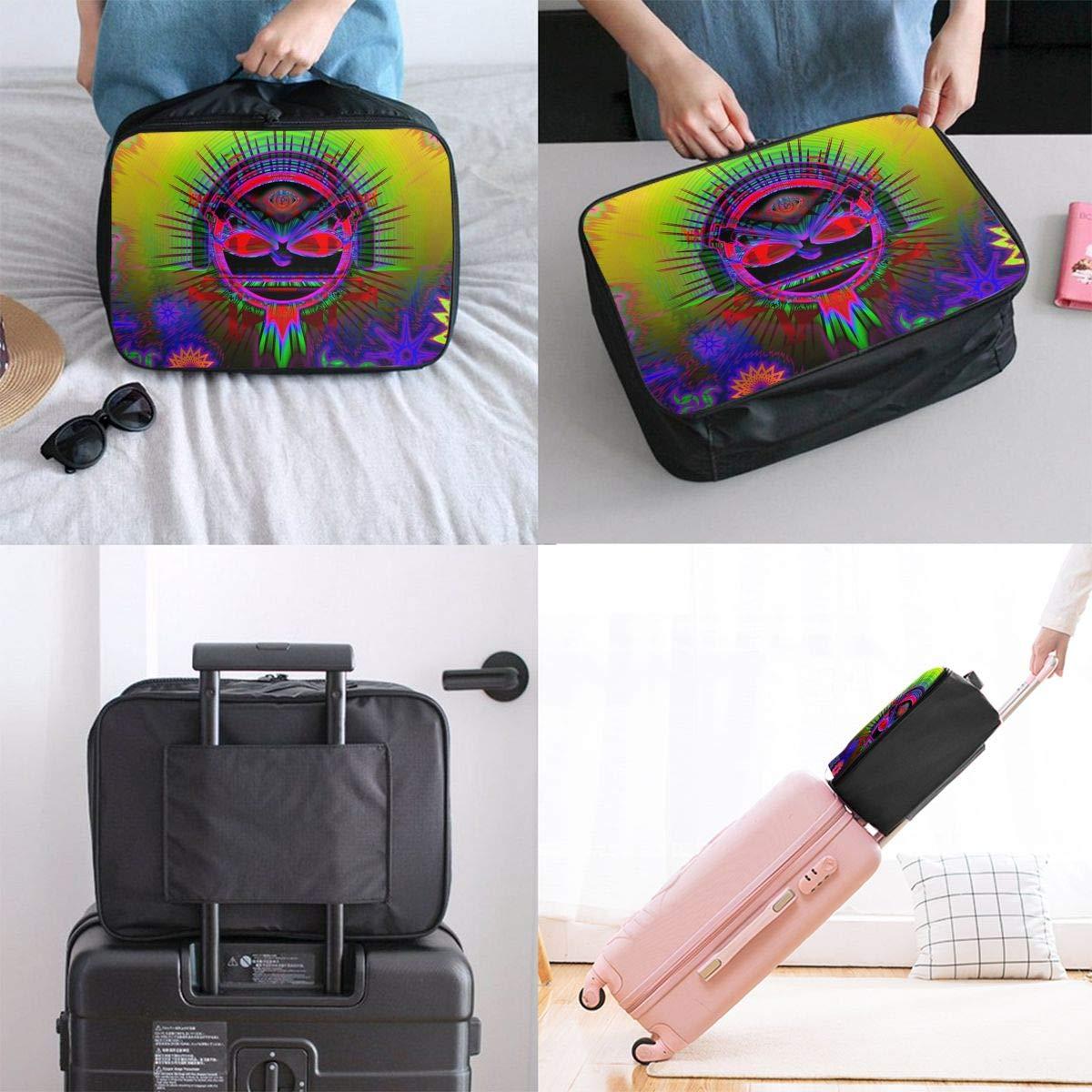 Travel Luggage Duffle Bag Lightweight Portable Handbag Trippy Acid Flowers Large Capacity Waterproof Foldable Storage Tote