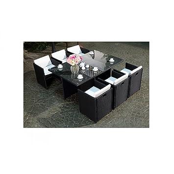 Mon Usine LSR-310-BK/WH 6C Le Vito Salon jardin encastrable en résine Noir  180 x 115 x 73 cm