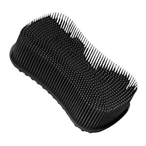 ELFRhino Bath Sponge 2 in 1 Silicone Shower Brush Natural Bristle Massager, Silicone Body Scrubber, Gentle Scrub Skin Exfoliation For Face and Body Massage Nubs Improve Cellulite Black