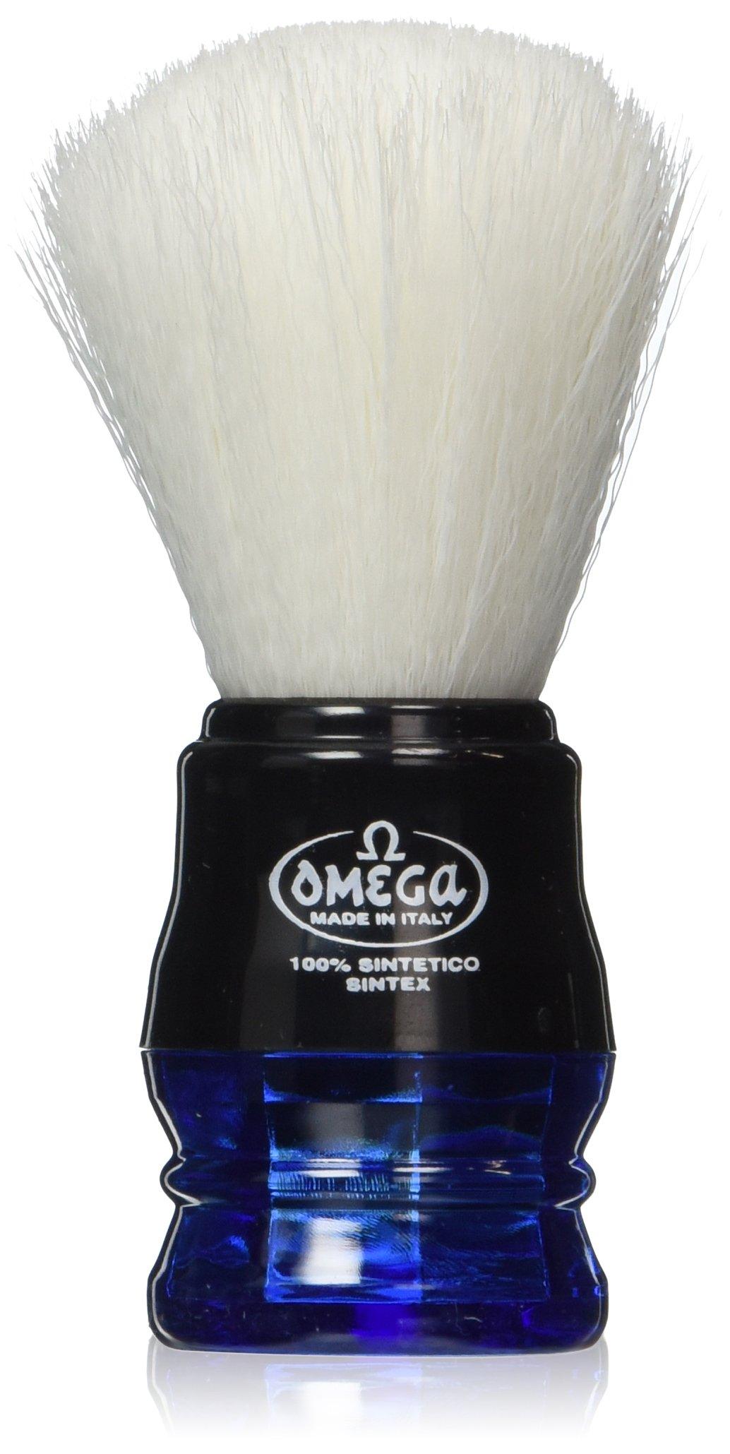 Omega Blue Handle Syntex Synthetic Fibre Shaving Brush Vegan Cruelty Free
