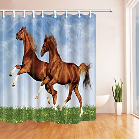 Nyngei Flying Horse Decor Running Khaki Horses Shower Curtains Mildew Resistant Polyester Fabric Bathroom Decorations