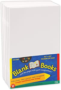 Hygloss Products White Blank Books – Great Books for Journaling, Sketching, Writing & More – Great for Arts & Crafts - 5.5 x 8.5 Inches - 10 Pack, (Model: HYG77710)