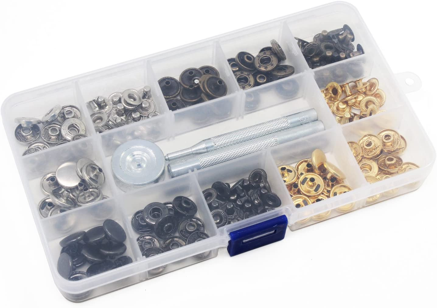 5 Patrones 50 Piezas Botones Botones de Jeans Broche de Presi/ón Botones de Presi/ón con Caja de Almacenamiento 17 mm