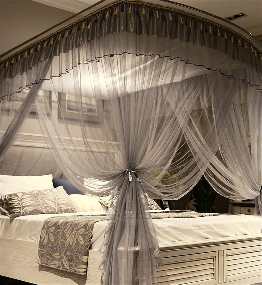 Mosquito net Indoor Mosquito net Outdoor Mosquito net Travel Mosquito net Anti-Mosquito Insect net Palace Mosquito net Bedroom Decoration, Gray, L (87-210Adjustment) W150cm by RFVBNM Mosquito net (Image #7)
