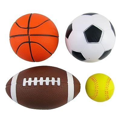 Set of 4 Sports Balls for Kids (Soccer Ball, Basketball, Football, Tennis Ball) By Bo Toys: Toys & Games