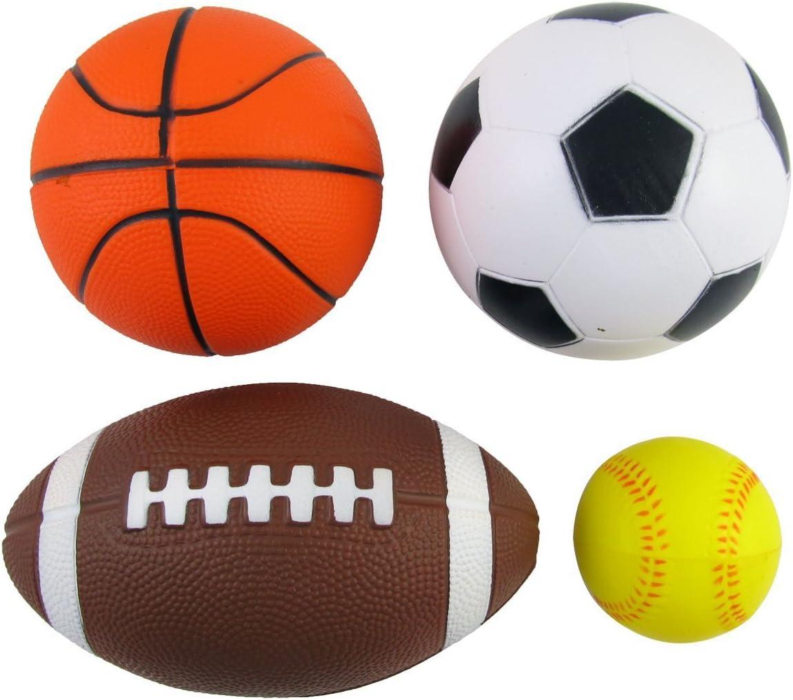 Amazon Com Set Of 4 Sports Balls For Kids Soccer Ball Basketball Football Tennis Ball By Bo Toys Toys Games