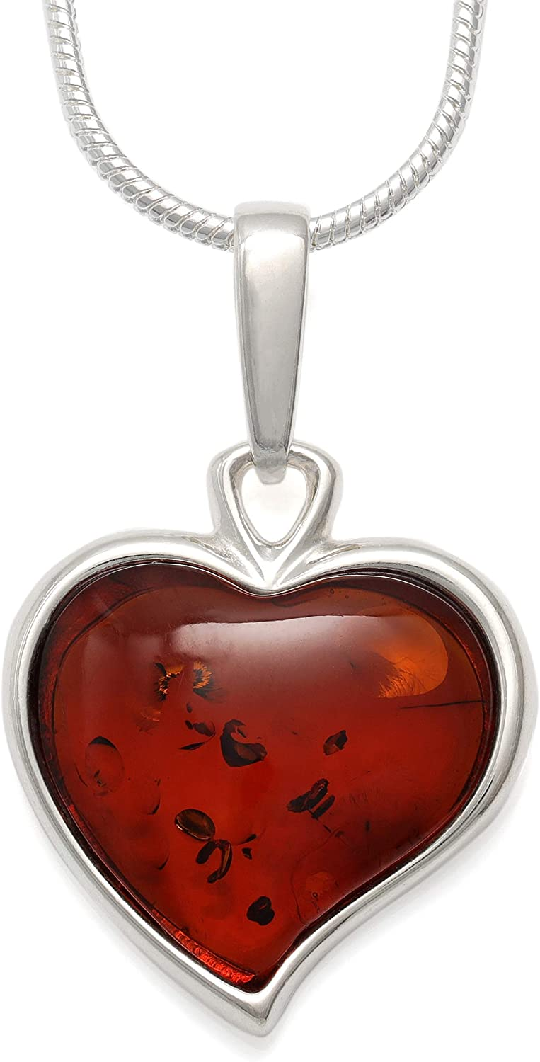 Amber /& Sterling Silver Pendant Necklace