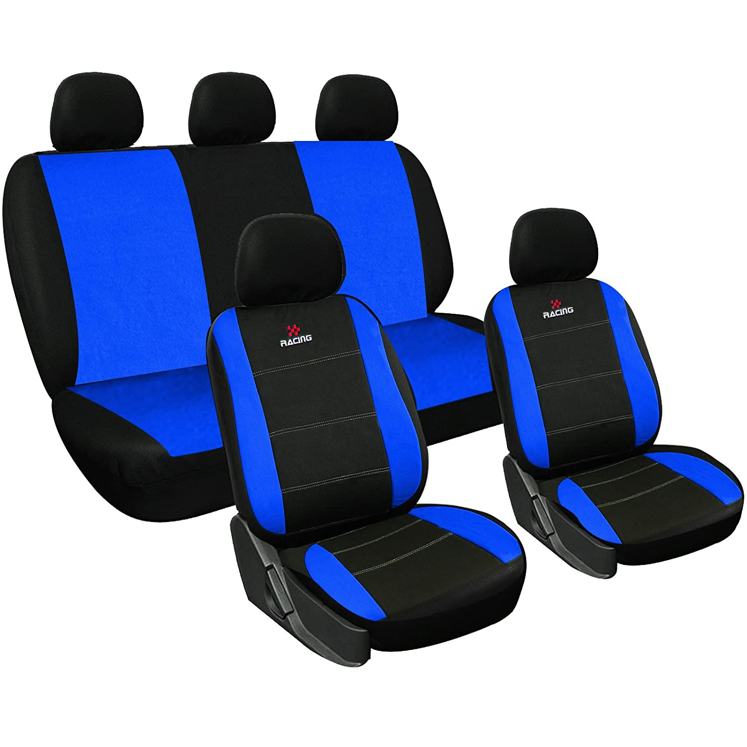 WOLTU Car Seat Covers black and blue Full Set 5 Seaters Universial for Cars