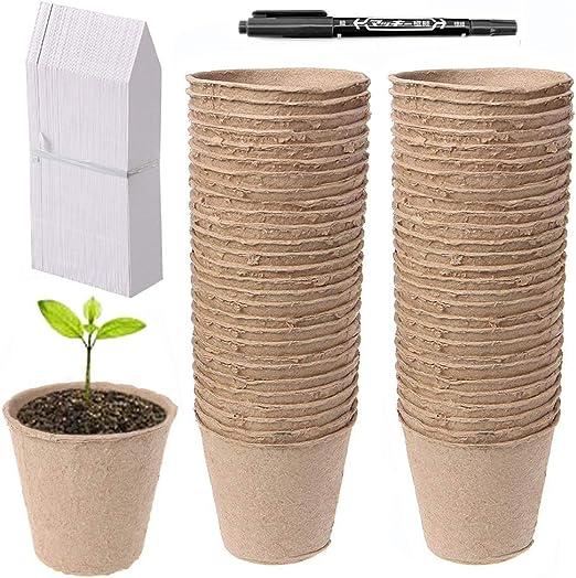 Abimars 50 Piezas Macetas de Semillas de Fibra Biodegradable de 8 ...