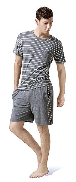 Sunshine Chow Ropa de noche de cuello redondo de verano de los hombres pijama corto conjunto
